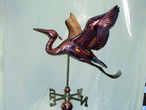 "Jumbo Blue Heron Weathervane -- Order# GD654P -- $1250 -- Size: 34""Lx30""Hx34""W"