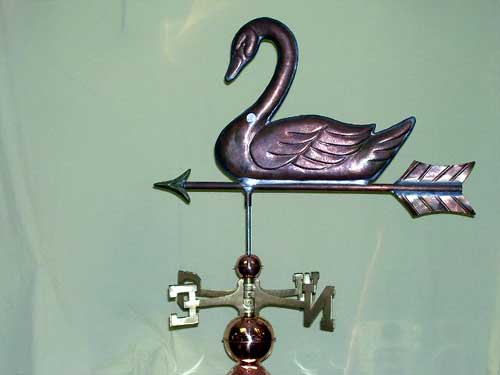 "Swan Weathervane -- Order# HM 106 -- $325 -- Size: 22""Lx18""H"