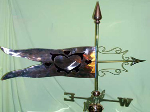 "Glass Hearts Weathervane -- Order# NH 100 -- $395 -- Size: 35""Lx32""H"