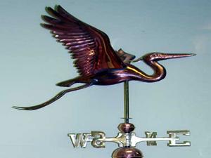 "Blue Heron Weathervane -- Order# W248p -- $395 -- Size: 18""Lx24""Hx28""W"