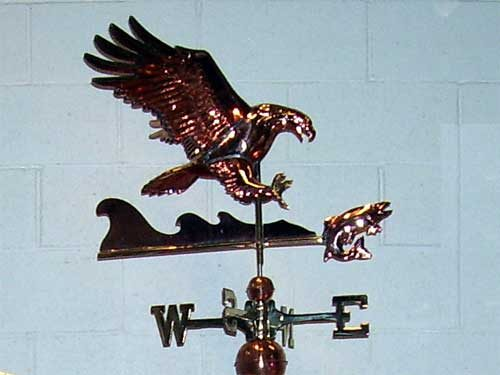 "Eagle with Fish Weathervane -- Order# W259p -- $345 -- Size: 24""Lx18""Hx28""W"