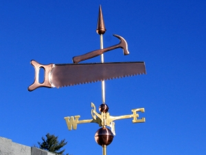 "Saw and Hammer Weathervane -- Order# WF110 -- $325 -- Size: 24""Lx20""H"