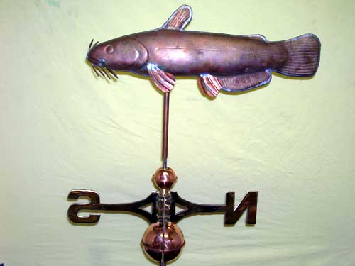 "Catfish Weathervane Handmade -- Order# HM109 -- $425 -- 22""Lx14""H"
