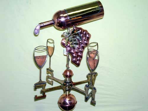 "Wine Bottle Weathervane -- Order# GD917p -- $345 -- Size: 15""Lx15""Hx4""W"
