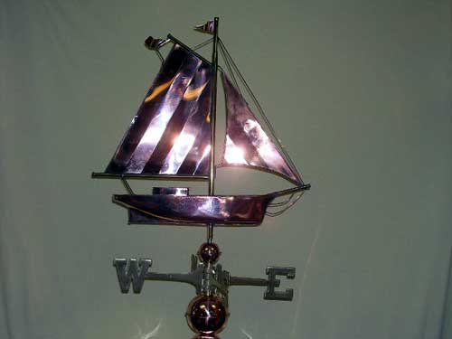 "Small Sloop Weathervane -- Order# W167p -- $345 -- Size: 21""Lx21""H"