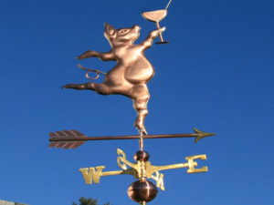 "Party Pig Weathervane -- Order# WF102 -- $425 -- Size: 23""Lx23""H"