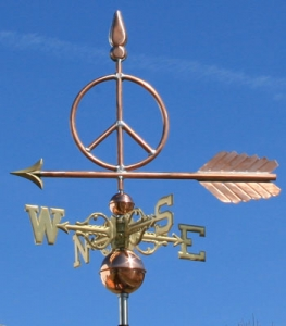 "Peace Sign Weathervane -- Order# WF472 -- $245 -- Size: 25""L X 17""H"