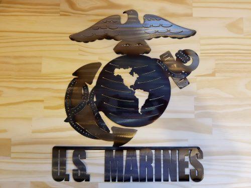 """US Marines Metal Wall Art -- $70 -- Size: 14.5""""L x 17""""H"""