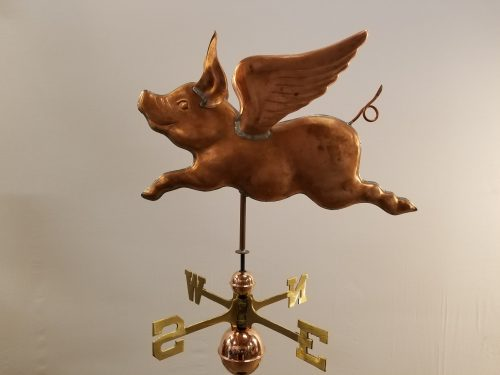 "Flying Pig Weathervane -- Order# WF307 -- $425 -- 25""Lx17""H"