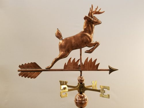 "Leaping Deer Weathervane -- Order# WF516 -- $425 -- Size: 30""L X 22""H"