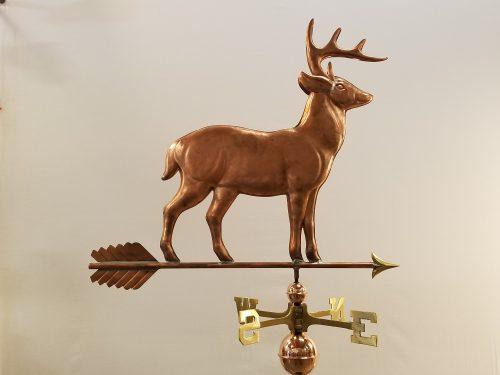 "Standing Deer Weathervane -- Order# WF165 -- $455 -- Size: 32""L X 28""H"