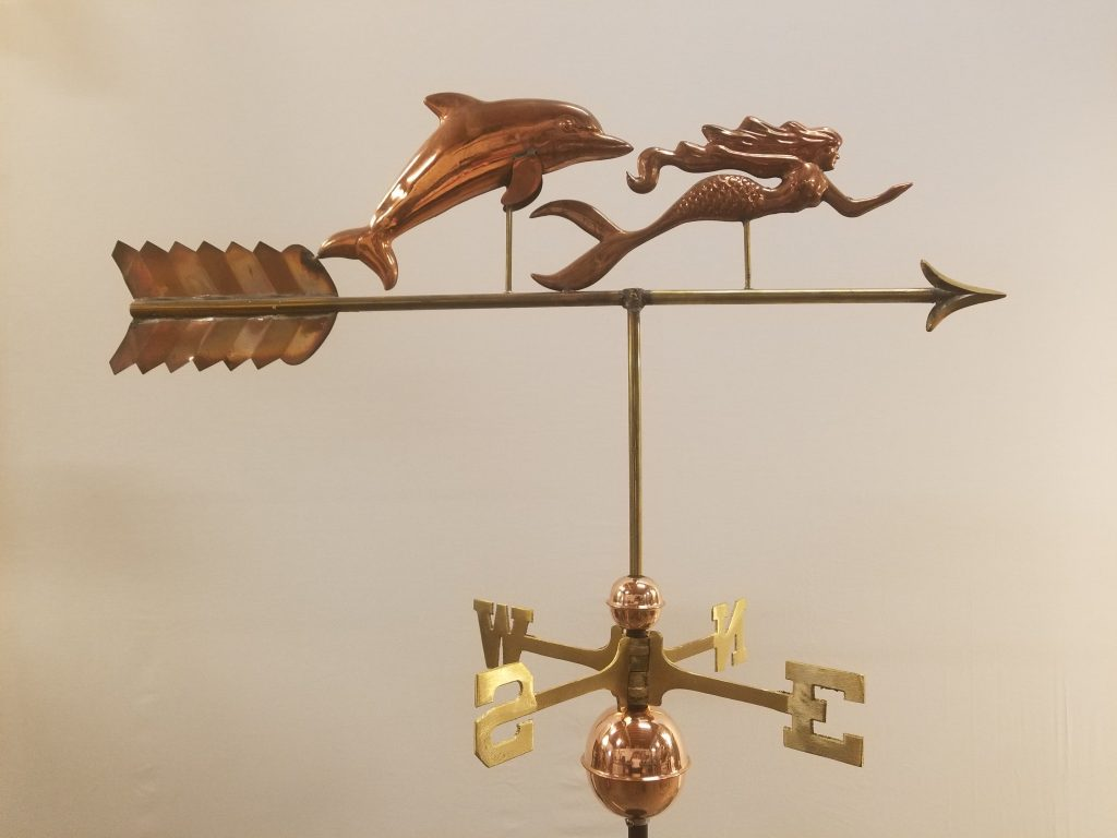 "Mermaid and Dolphin Weathervane -- $325 -- Size: 36""L x 20""H"