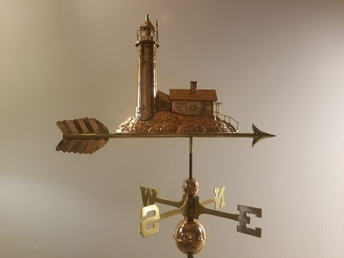 "Lighthouse Weathervane -- Order# GD624P -- $395 -- Size: 27""Lx16""Hx6""W"
