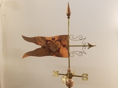 """Glass Hearts Weathervane -- Order# NH 100 -- $395 -- Size: 35""""Lx32""""H"""