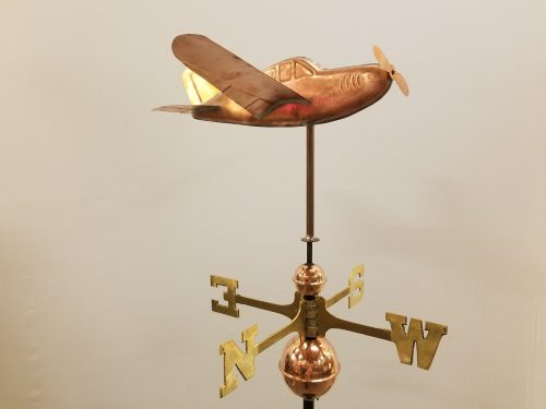 "Low Wing Plane Weathervane -- Order# WF399 -- $420 -- 16""L X 14""H X 21""W"