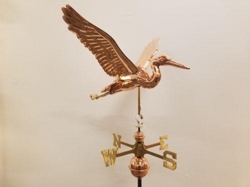 """Sculptured Heron Weathervane -- Order# GD9609p -- $485 -- Size: 26""""Lx20""""Hx28""""W"""