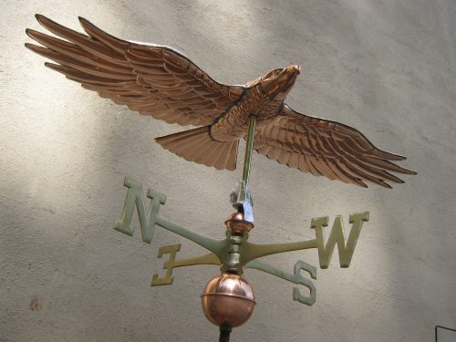 "Hawk Weathervane -- Order# GD9699P -- $485 -- Size: 19""Lx11""Hx40""W"