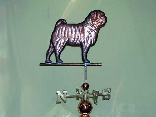 "Pug Weathervane -- Order# HM 101 -- $395 -- Size: 19""Lx18""H"