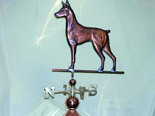 "Doberman Dog Weathervane -- Order# CT317 -- $395 -- Size: 21""L x 23""H"