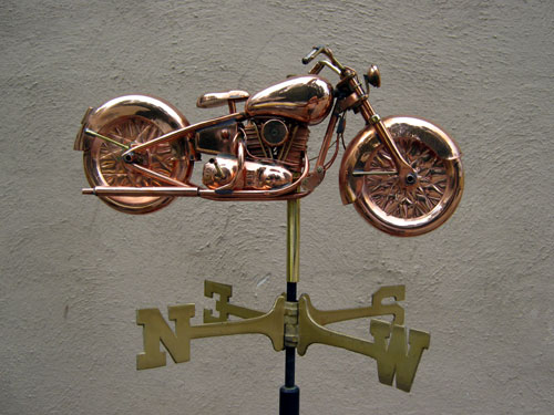 "Medium Motorcycle Weathervane -- Order# GD8846 -- $245 -- Size: 19""L x 9""H x 4.5""W"