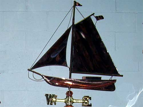 "Large Sloop Weathervane -- Order# W168p -- $345 -- Size: 31""Lx31""H"