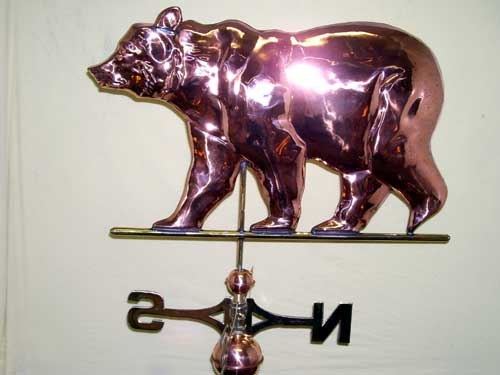 "Large Bear Weathervane -- Order# WV315p -- $385 -- Size: 28""Lx19""H"
