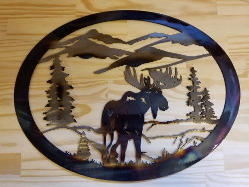 "Lg. Moose Circle Metal Wall Art -- $70 -- Size: 20""L x 20""H"