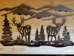 """Large Deer Scene -- $135 -- Size: 33""""L x 18""""H"""