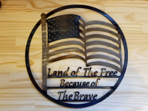 "Land Of The Free Metal Wall Art -- $70 -- Size: 17""L x 17""H"