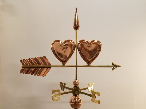 "Hearts Weathervane -- Order# CT206 -- $325 -- Size: 34""Lx23""H"