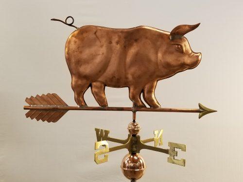 "Standing Pig Weathervane -- Order# WF156 -- $395 -- 24""L X 15""H"