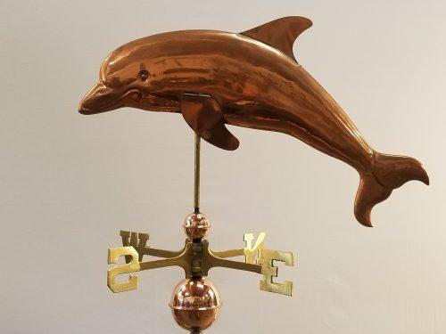 "Dolphin Weathervane -- Order# W196P -- $265 -- 27""Lx16""H"