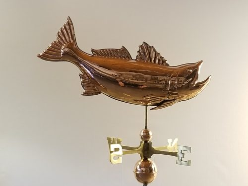 """Leaping Bass Weathervane -- Order# CT202 -- $345 -- Size: 28""""Lx14""""H"""