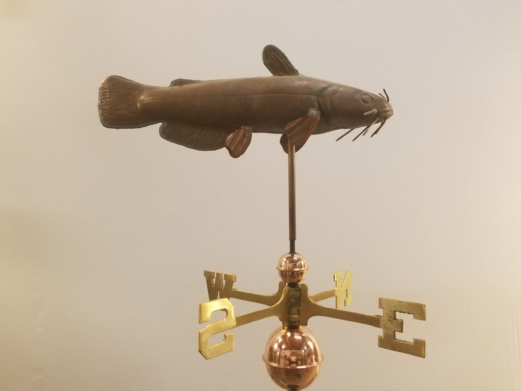 "Catfish Weathervane -- Order# CT109 -- $425 -- Size: 22""Lx14""H"