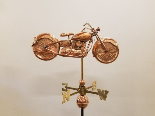 """Motorcycle Weathervane -- Order# GD669 -- $625 -- Size: 22""""Lx12.5""""H"""