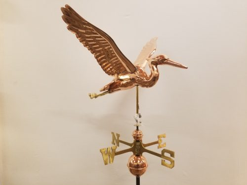 "Sculptured Heron Weathervane -- Order# GD9609p -- $485 -- Size: 26""Lx20""Hx28""W"